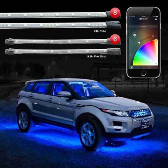 8pc 24 Under Glow 6pc 10 Flexible Strip Xkchrome Control Car Led Accent Light Kit