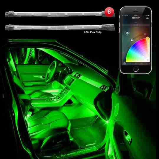6pc 10 Flexible Strip Car Interior Grill Xkchrome Control Under Led Accent Light Kit