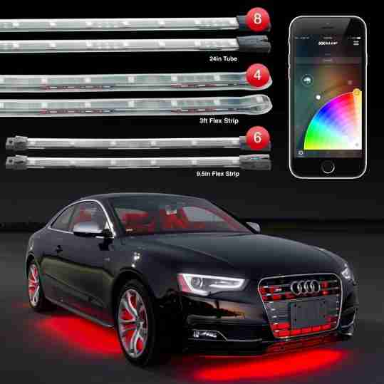 8pc 24 Under Glow 6pc 10 Interior Strips 4pc 3ft Wheel Light Xkchrome Control Car Led Accent Kit