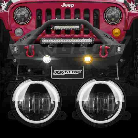 Jeep Wrangler Fog Lights >> 4in Jeep Wrangler Jk Led Fog Light 2pc Kit With Switchback Halo White Drl Amber Turn Signal